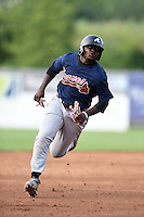 Cornelius Randolph (2) of Griffin High School in Williamson, Georgia playing for the Atlanta Braves scout team during the East Coast Pro Showcase on August 1, 2014 at NBT Bank Stadium in Syracuse, New York.  (Mike Janes/Four Seam Images)