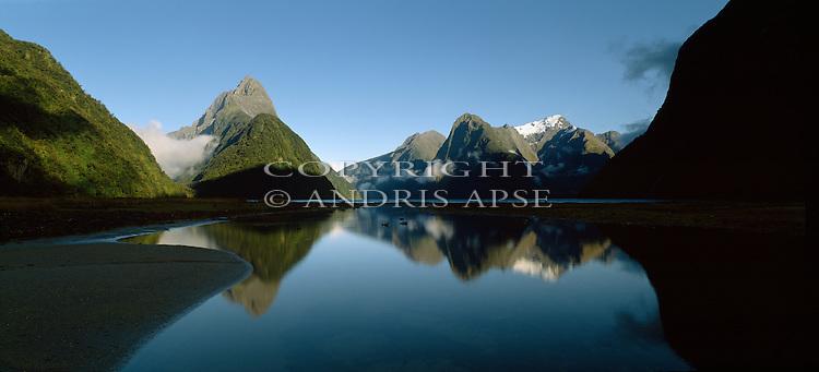 Mitre Peak reflected Milford Sound. Fiordland National Park. New Zealand.