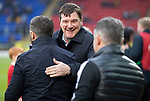 St Johnstone v Aberdeen…..24.11.19   McDiarmid Park   SPFL<br />Tommy Wright greets Derek McInnes and Tony Docherty<br />Picture by Graeme Hart.<br />Copyright Perthshire Picture Agency<br />Tel: 01738 623350  Mobile: 07990 594431