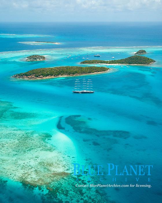 aerial view of Tobago Cays, Saint Vincent and the Grenadines, Caribbean Sea, Atlantic Ocean