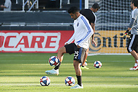 SAN JOSE, CA - AUGUST 24: Andres Rios #25 of the San Jose Earthquakes prior to a Major League Soccer (MLS) match between the San Jose Earthquakes and the Vancouver Whitecaps FC  on August 24, 2019 at Avaya Stadium in San Jose, California.