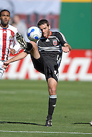 DC United midfielder Ben Olsen (14) tries to trap the ball during the game. DC United defeated Chivas USA 2-1, at RFK Stadium in Washington DC, Sunday May 6, 2007.