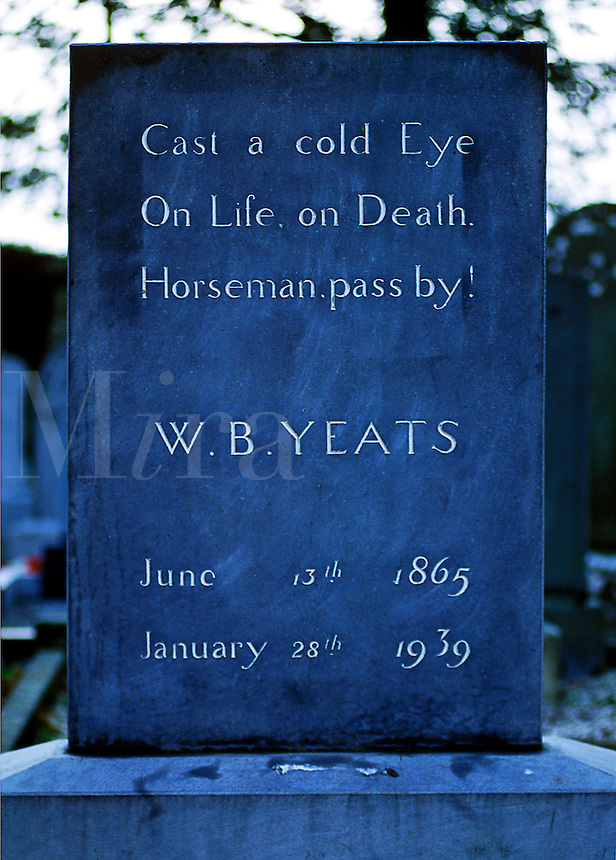 The grave stone of William Butler Yeats, Irish poet, Drumcliff, County Sligo, Ireland