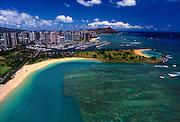 Aerial view of Magic Island, Ala Moana Beach Park,and Waikiki Boat Harbor.