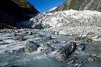 Franz Josef Glacier with a terminus and Waiho River - Westland National Park