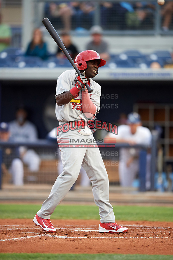 Palm Beach Cardinals left fielder Randy Arozarena (22) reacts to getting hit by a pitch during a game against the Charlotte Stone Crabs on April 11, 2017 at Charlotte Sports Park in Port Charlotte, Florida.  Palm Beach defeated Charlotte 12-6.  (Mike Janes/Four Seam Images)