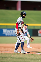 Peoria Javelinas right fielder Izzy Wilson (7), of the Atlanta Braves organization, takes a lead off third base during an Arizona Fall League game against the Mesa Solar Sox at Sloan Park on October 24, 2018 in Mesa, Arizona. Mesa defeated Peoria 4-3. (Zachary Lucy/Four Seam Images)