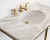 Vanity top shown in polished Calacatta.