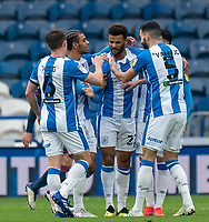 20th February 2021; The John Smiths Stadium, Huddersfield, Yorkshire, England; English Football League Championship Football, Huddersfield Town versus Swansea City; Fraizer Campbell celebrations after opening the scoring for Huddersfield