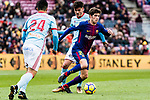 Sergi Roberto of FC Barcelona (R) in action against Jozabed Sanchez Ruiz of RC Celta de Vigo (C) during the La Liga 2017-18 match between FC Barcelona and RC Celta de Vigo at Camp Nou Stadium on 02 December 2017 in Barcelona, Spain. Photo by Vicens Gimenez / Power Sport Images
