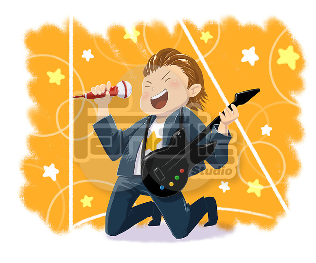 Illustrative image of boy with guitar performing rock music representing dream