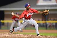 Auburn Doubledays pitcher L.J. Hollins #21 during a game against the Batavia Muckdogs on July 3, 2013 at Dwyer Stadium in Batavia, New York.  Batavia defeated Auburn 12-2.  (Mike Janes/Four Seam Images)