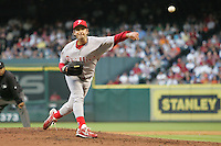 Philadelphia Phillies pitcher Jamie Moyer against the Houston Astros on Turn Back the Clock Nite. Game played on Saturday April 10th, 2010 at Minute Maid Park in Houston, Texas.  (Photo by Andrew Woolley / Four Seam Images)