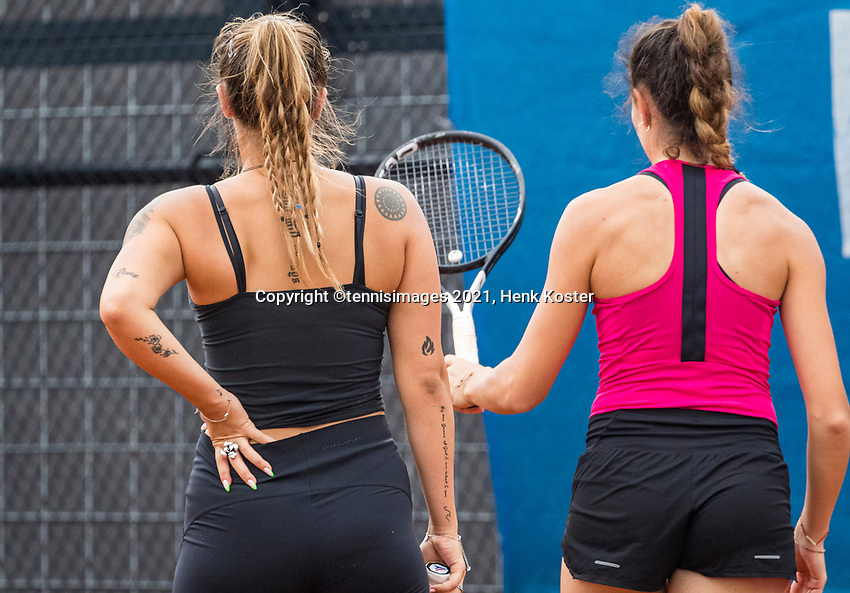 Amstelveen, Netherlands, 6 Juli, 2021, National Tennis Center, NTC, Amstelveen Womans Open, Doubles: OZ/Prisacariu<br /> Photo: Henk Koster/tennisimages.com