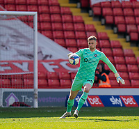 24th April 2021, Oakwell Stadium, Barnsley, Yorkshire, England; English Football League Championship Football, Barnsley FC versus Rotherham United; Bradley Collins of Barnsley with another long kick out of his hands