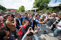Paris, France, 25 June, 2016, Tennis, Roland Garros, Nick Kyrgios (AUS) is escorted throu the fans after his match against Igor Sijsling (NED)<br /> Photo: Henk Koster/tennisimages.com