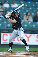 Omaha Storm Chasers second baseman Johnny Giavotella #9 at bat against the Round Rock Express in the Pacific Coast League baseball game on April 4, 2013 at the Dell Diamond in Round Rock, Texas. Round Rock defeated Omaha in their season opener 3-1. (Andrew Woolley/Four Seam Images).