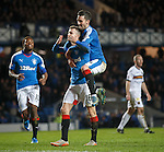 Andy Halliday scores from the penalty spot to put Rangers 4-0 up and celebrates