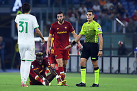 12th September 2021; Olympic Stadium, Rome, Italy, Serie A championship football, Roma versus Sassuolo ; Tammy Abraham of AS Roma on the pitch after a heavy tackle