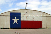 Texas Lone Star Flag on Airport Hanger in Austin, Texas, USA No. 6
