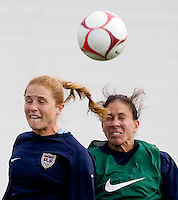 USWNT defender Rachel Buehler goes up for a header against teammate Shannon Boxx during practice for the Algarve Cup in Albufeira, Portugal.