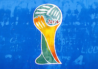 Graffiti showing the 2014 World Cup logo in Natal, Brazil