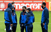 (l-r): Bolton Wanderers' Liam Gordon , Jamie Mascoll , Brandon Comley and Reiss Greenidge inspecting the pitch before the match <br /> <br /> Photographer Andrew Kearns/CameraSport<br /> <br /> The EFL Sky Bet League Two - Stevenage v Bolton Wanderers - Saturday 21st November 2020 - Lamex Stadium - Stevenage<br /> <br /> World Copyright © 2020 CameraSport. All rights reserved. 43 Linden Ave. Countesthorpe. Leicester. England. LE8 5PG - Tel: +44 (0) 116 277 4147 - admin@camerasport.com - www.camerasport.com