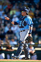 Tampa Bay Rays catcher Jesus Sucre (45) during a Spring Training game against the Pittsburgh Pirates on March 10, 2017 at LECOM Park in Bradenton, Florida.  Pittsburgh defeated New York 4-1.  (Mike Janes/Four Seam Images)