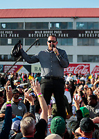 Feb 23, 2020; Chandler, Arizona, USA; Overall view of NHRA announcer XXXX during the Arizona Nationals at Wild Horse Pass Motorsports Park. Mandatory Credit: Mark J. Rebilas-USA TODAY Sports
