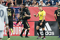 FOXBOROUGH, MA - AUGUST 4: Latif Blessing #7 of Los Angeles FC celebrates his goal during a game between Los Angeles FC and New England Revolution at Gillette Stadium on August 3, 2019 in Foxborough, Massachusetts.