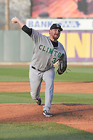 Clinton LumberKings starting pitcher Zack Littell throws during the game against the Cedar Rapids Kernels at Veterans Memorial Stadium on April 14, 2016 in Cedar Rapids, Iowa.  The Kernels won 7-3.  (Dennis Hubbard/Four Seam Images)