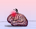 Concept of a man with a sledge hammer hitting a large brain depicting pain