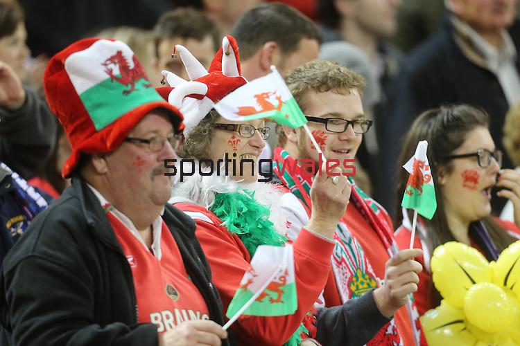Patriotic Welsh rugby fans<br /> RBS 6 Nations 2014<br /> Wales v Scotland<br /> Millennium Stadium<br /> <br /> 15.03.14<br /> <br /> ©Steve Pope-SPORTINGWALES