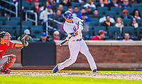 20 April 2013: New York Mets shortstop Ruben Tejada in action against the Washington Nationals at Citi Field in Flushing, NY. The Mets fell to the visiting Nationals 7-6, tying their 3-game weekend series at one a piece. Mandatory Credit: Ed Wolfstein Photo *** RAW (NEF) Image File Available ***