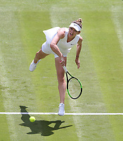 Simona Halep (ROU) during her match against Aliaksandra Sasnovich (BLR) in their Ladies' Singles First Round match<br /> <br /> Photographer Rob Newell/CameraSport<br /> <br /> Wimbledon Lawn Tennis Championships - Day 1 - Monday 1st July 2019 -  All England Lawn Tennis and Croquet Club - Wimbledon - London - England<br /> <br /> World Copyright © 2019 CameraSport. All rights reserved. 43 Linden Ave. Countesthorpe. Leicester. England. LE8 5PG - Tel: +44 (0) 116 277 4147 - admin@camerasport.com - www.camerasport.com