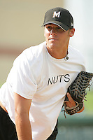 Ethan Hollingsworth of the Modesto Nuts during game against the Lancaster JetHawks at Clear Channel Stadium in Lancaster,California on July 15, 2010. Photo by Larry Goren/Four Seam Images