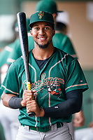 Outfielder Lolo Sanchez (34) of the Greensboro Grasshoppers poses for a portrait before a game against the Greenville Drive on Friday, July 23, 2021, at Fluor Field at the West End in Greenville, South Carolina. (Tom Priddy/Four Seam Images)