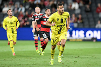 15th March 2021; Bankwest Stadium, Parramatta, New South Wales, Australia; A League Football, Western Sydney Wanderers versus Wellington Phoenix; Tomer Hemed of Wellington Phoenix celebrates as he scores from the penalty spot in the 64th minute to make it 3-2