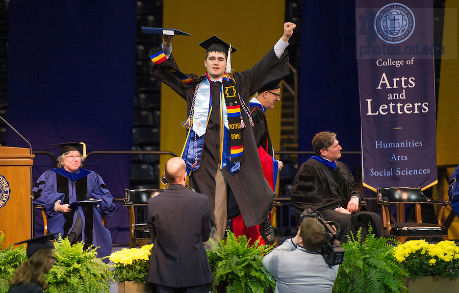 May 18, 2014; College of Arts and Letters diploma ceremony, Commencement 2014. Photo by Barbara Johnston/University of Notre Dame