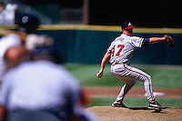 SAN FRANCISCO, CA - Tom Glavine of the Atlanta Braves in action during a game against the San Francisco Giants at Candlestick Park in San Francisco, California in 1995. Photo by Brad Mangin