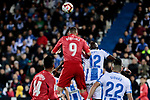 CD Leganes's Allan Romeo Nyom and Real Madrid's Karim Benzema during La Liga match between CD Leganes and Real Madrid at Butarque Stadium in Leganes, Spain. April 15, 2019. (ALTERPHOTOS/A. Perez Meca)