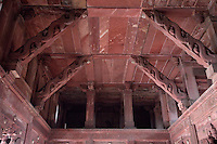 Agra, India.  Agra Fort, Jahangiri Mahal.  Indian-Style Roof Supports Depict Dragons Coming from Elephants' Mouths.