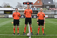 referee Simon Bourdeaud'Hui  with assistant referee Benjamin Dewyn (L) and Joachim vercamer (R) pictured during a female soccer game between SV Zulte - Waregem and Club Brugge YLA on the 13 th matchday of the 2020 - 2021 season of Belgian Scooore Womens Super League , saturday 6 th of February 2021  in Zulte , Belgium . PHOTO SPORTPIX.BE | SPP | DIRK VUYLSTEKE