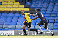 Aaron Martin, Harrogate Town,  gets beyond Richard Taylor, Southend United, on the right during Southend United vs Harrogate Town, Sky Bet EFL League 2 Football at Roots Hall on 12th September 2020