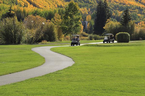 Golf carts on Vail Valley Golf Course, Colorado.