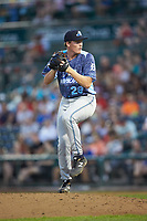 West Michigan Whitecaps relief pitcher Michael Bienlien (28) in action against the Fort Wayne TinCaps at Parkview Field on August 5, 2019 in Fort Wayne, Indiana. The TinCaps defeated the Whitecaps 9-3. (Brian Westerholt/Four Seam Images)