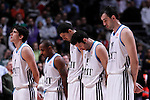 Real Madrid's Carlos Suarez, Dontaye Draper, Nikola Mirotic, Rudy Fernandez and Mirza Begic taxed a minute of silence for the victims of the Madrid Hallowing party the previous day during Euroleague 2012/2013 match.November 1,2012. (ALTERPHOTOS/Acero)