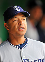 29 May 2011: San Diego Padres first base coach Dave Roberts smiles in the dugout prior to a game against the Washington Nationals at Nationals Park in Washington, District of Columbia. The Padres defeated the Nationals 5-4 to take the rubber match of their 3-game series. Mandatory Credit: Ed Wolfstein Photo