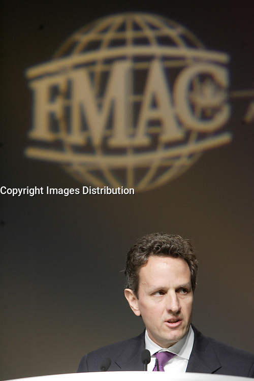 Montreal (QC) CANADA, May 4, 2007-<br /> <br /> <br /> Timothy F. Geithner, President, Federal Reserve Bank of New York<br />  speak before ACI - The Financial Markets<br /> Association, May 4, 2007, during their convention in Montreal, Canada.<br /> <br /> <br /> photo : (c) images Distribution