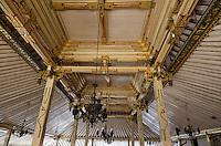 Yogyakarta, Java, Indonesia.  Javanese Woodwork in Ceiling of veranda, Great Mosque, Masjid Gedhe Kauman, mid-18th. Century.